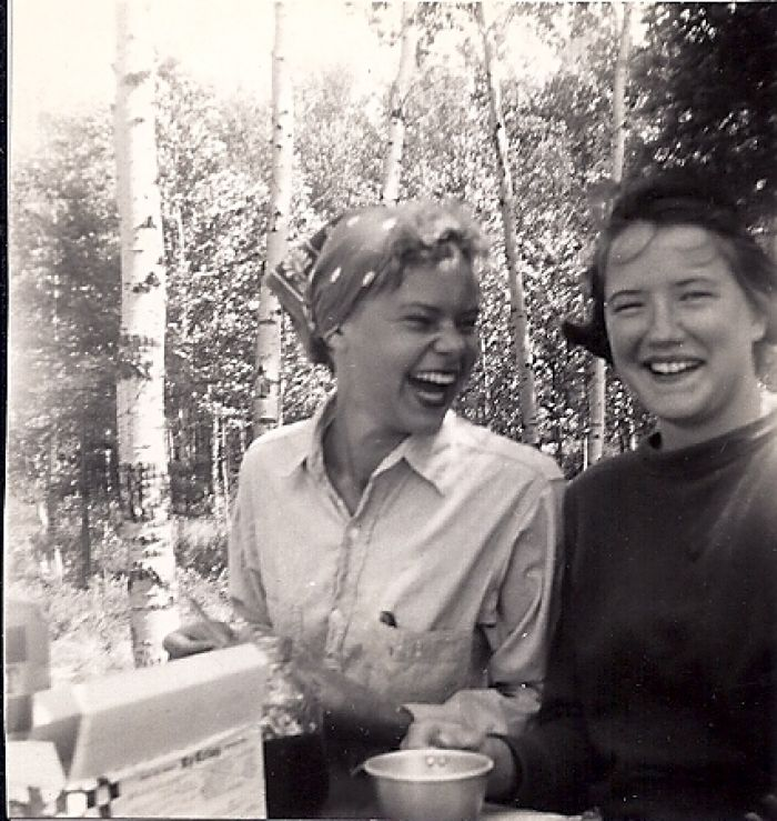 Nancy Thompson and Phyllis Abbott, Canoe Trip, 1954